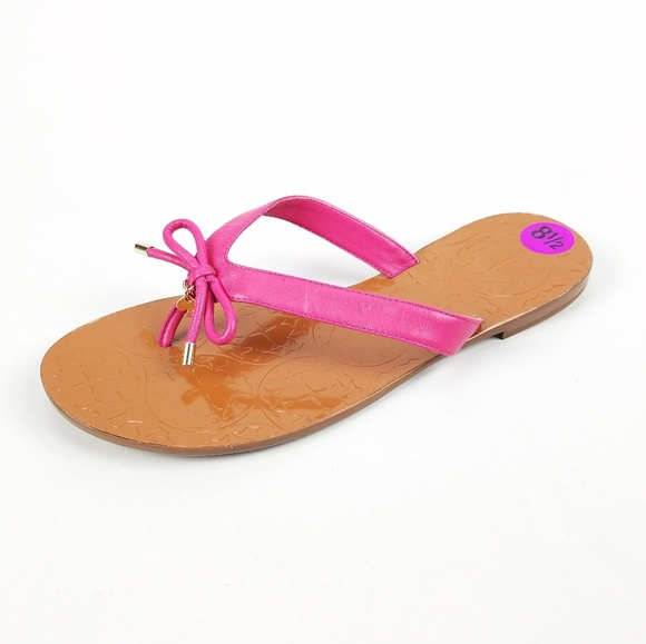 9a1cb7057851d Kate Spade Women Pink And Brown Leather Flip Flops